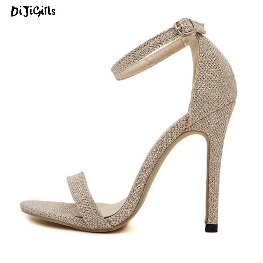 Women Ankle Strap Fashion Sandals Sexy High Heels Party Shoes Woman Stiletto Pumps Gold Silver Black for Summer ZGA6-3 big size 32 43 fashion party shoes woman sexy high heels platform summer pumps ankle strap sandals women shoes