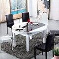 Твердой древесины обеденный стол и стул декора сочетание закаленное стекло для столовая и гостиная мебель