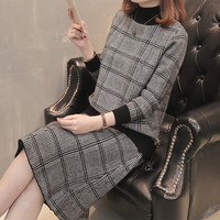 Women Autumn Winter Casual Thicken Plaid Knitted Sweaters Pants 2pcs Female Knitted Skirt+Turtleneck Pullover Sweater Suit V235