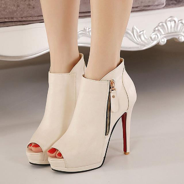 2017 Nova Plataforma de Cabeça de Peixe Mulheres Bombas Zip Lado Sexy Stiletto Sapatos de Salto Alto Bombas Mulheres Sapatos ZK30 Preto Branco