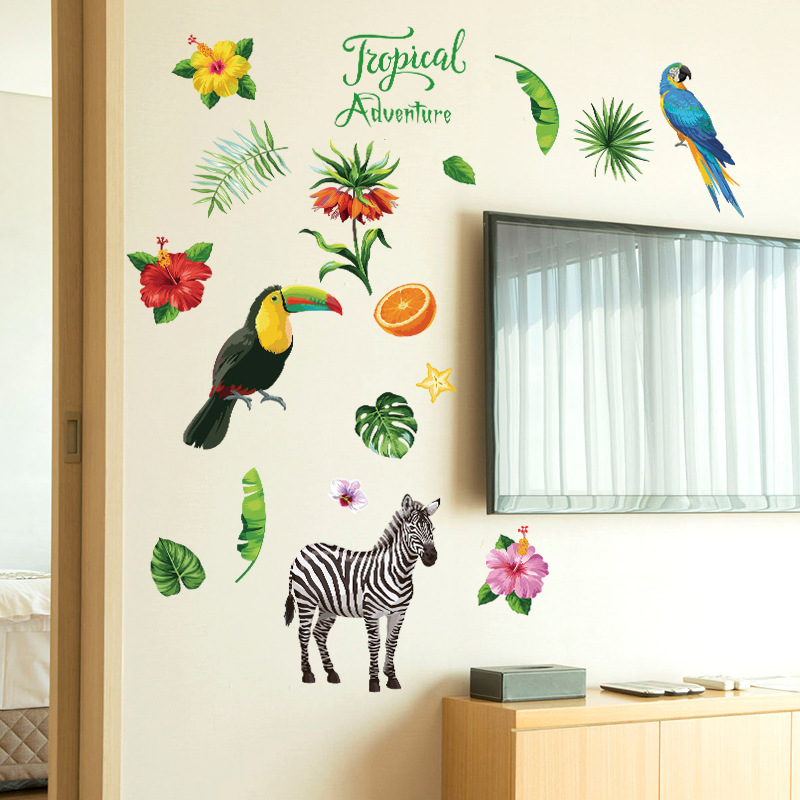 Tropical zebra parrot flamingo plant flower DIY wall sticker home living room bedroom ga ...