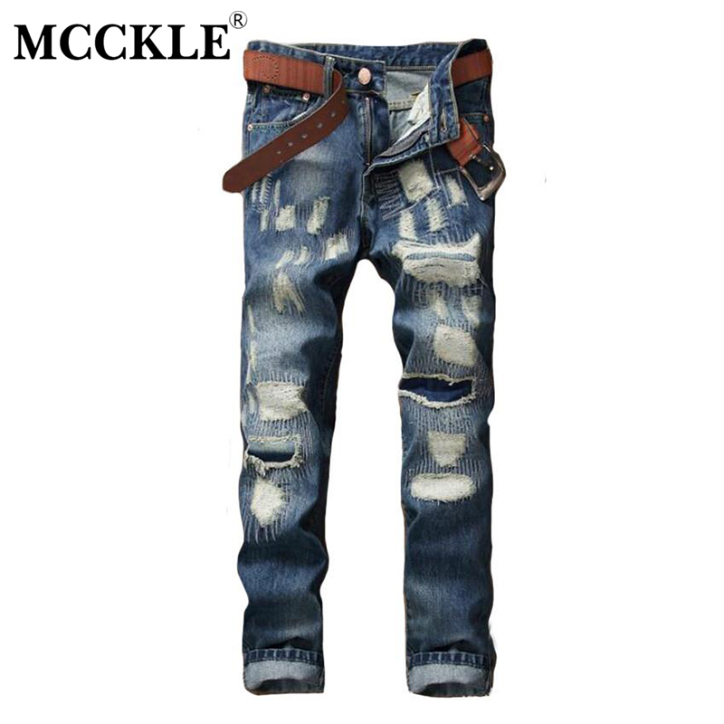 MCCKLE Fashion Mens Ripped Jeans Pants Slim Fit Straight Distressed Denim Joggers  Male Brand Designer Destroyed Patch  Trousers 2017 fashion patch jeans men slim straight denim jeans ripped trousers new famous brand biker jeans logo mens zipper jeans 604