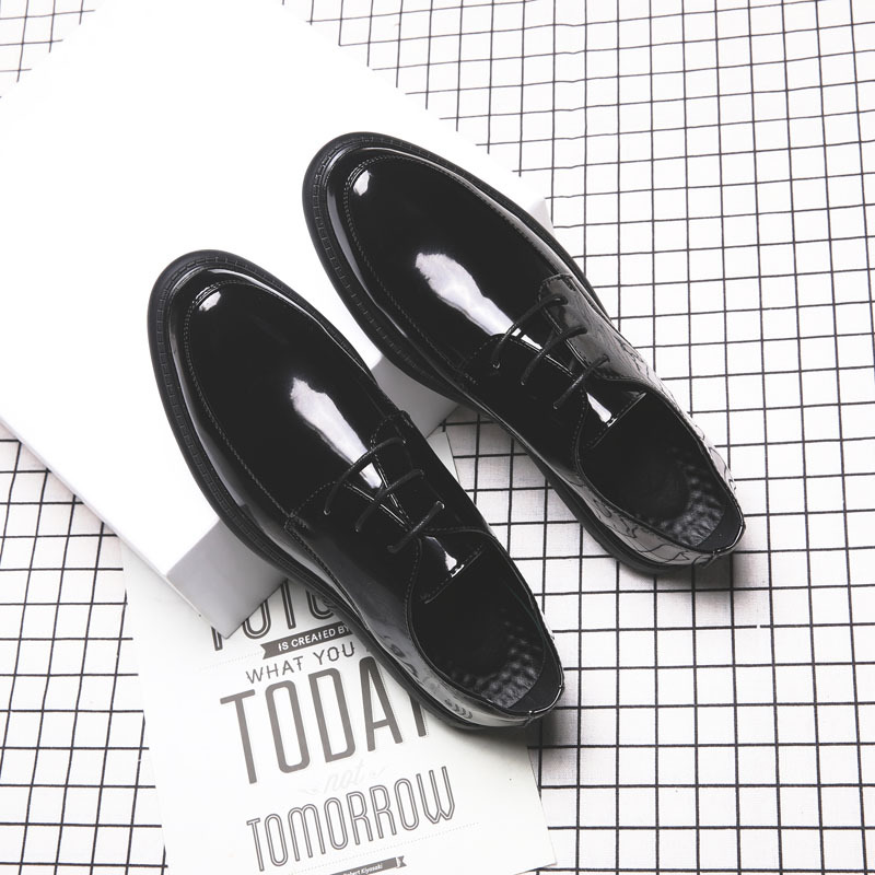up Black Homens Negócios Pontas Britânico 38 Casuais Lace Sapatos Pé Dedo Respirável Hard soft De Patent 44 Tamanho Do Moda wearing Flats Couro Black Dos SSw7Px0