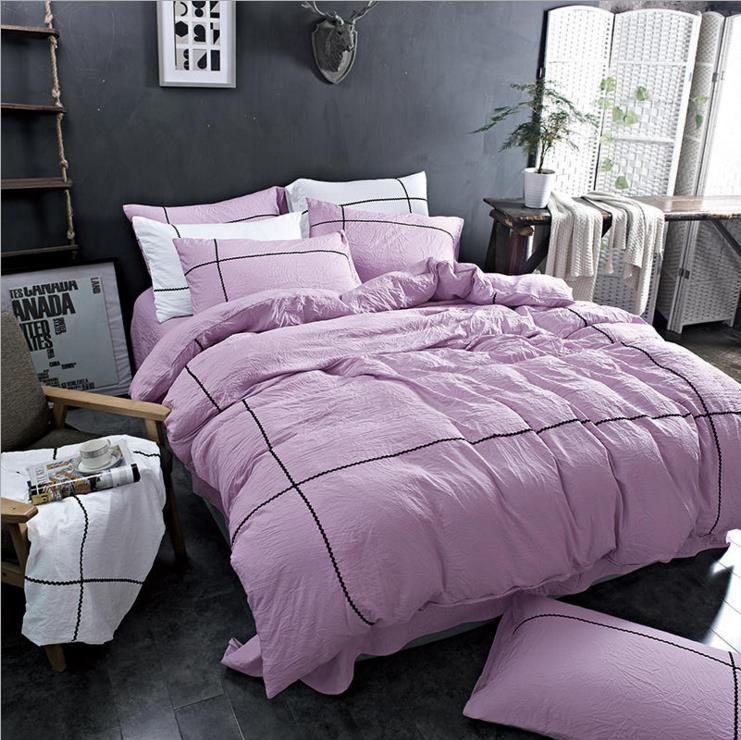 KALAMENG VS Secret Pink Water Washed Cotton Duvet Cover Pillowcase Pink Victoria Princess Pink/Blue/Green Comforter Bedding set