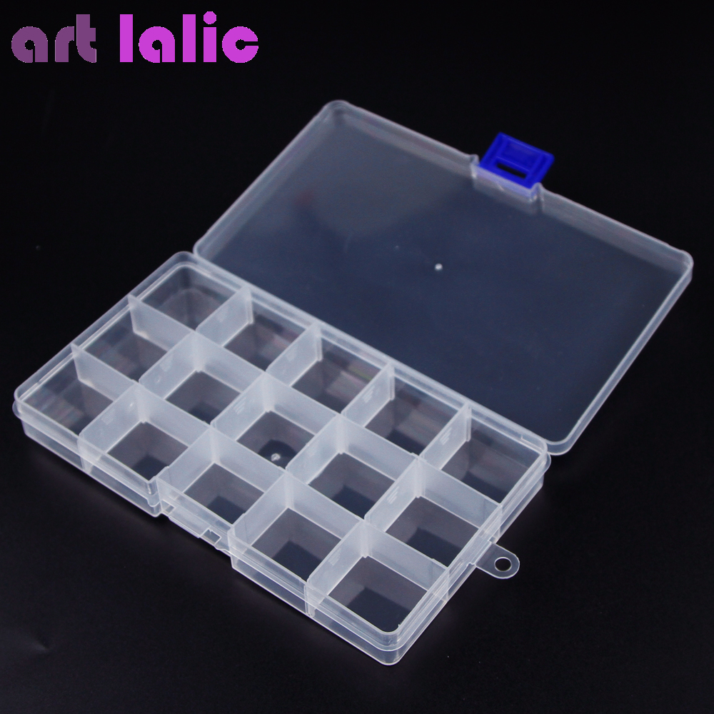 Obedient Artlalic 15 Grids Transparent Nail Art Jewelry Case Box Plastic Storage Case Rhinestones Alloy Studs Container Organizer Box With The Most Up-To-Date Equipment And Techniques Nails Art & Tools