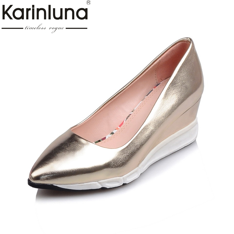 Karinluna 2018 Brand Shoes Women Wedge High Heels Platform Woman Shoes Pointed Toe Slip On Woman Pumps Size 34-39 lapolaka 2018 cow leather rivet suqare low heels women shoes woman slip on pointed toe pumps woman shoes size 34 39