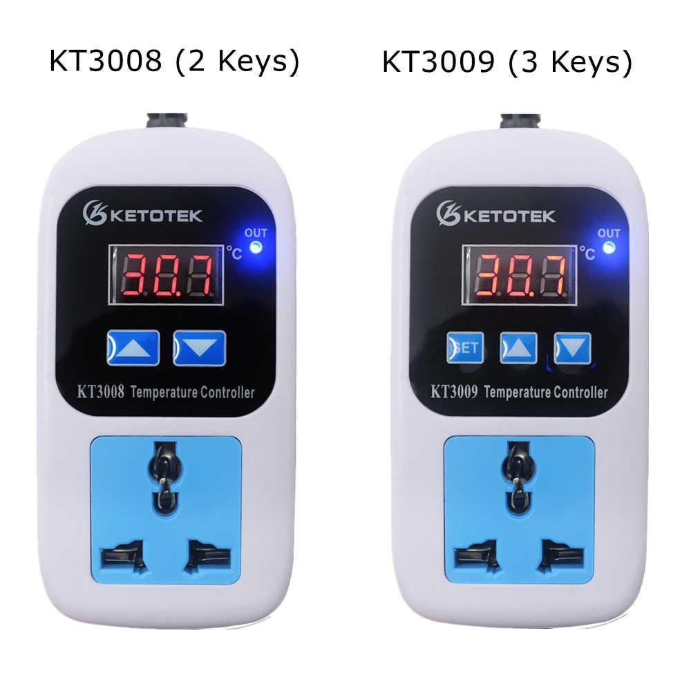 AC 110-220V ดิจิตอลคอนโทรลเลอร์อุณหภูมิควบคุมอุณหภูมิไมโครคอมพิวเตอร์ SOCKET Outlet -50 ~ 110C + NTC SENSOR KT3008 KT3009