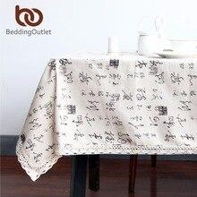 Beddingoutlet carácter chino mantel mesa de comedor cubierta de tabla paño de lino de algodón de múltiples tamaños de encaje macrame decoración del hogar