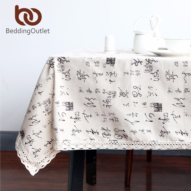 BeddingOutlet Chinese Character Tablecloth Dining Table Cloth Cotton Linen  Multi Sizes Lacy Table Cover Macrame Home