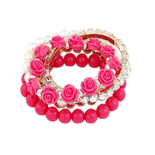 5 IN 1 Bohemian Simple Style Women Bracelet Cute Rose Flower Imitation Pearl Beads Bracelet Bangles