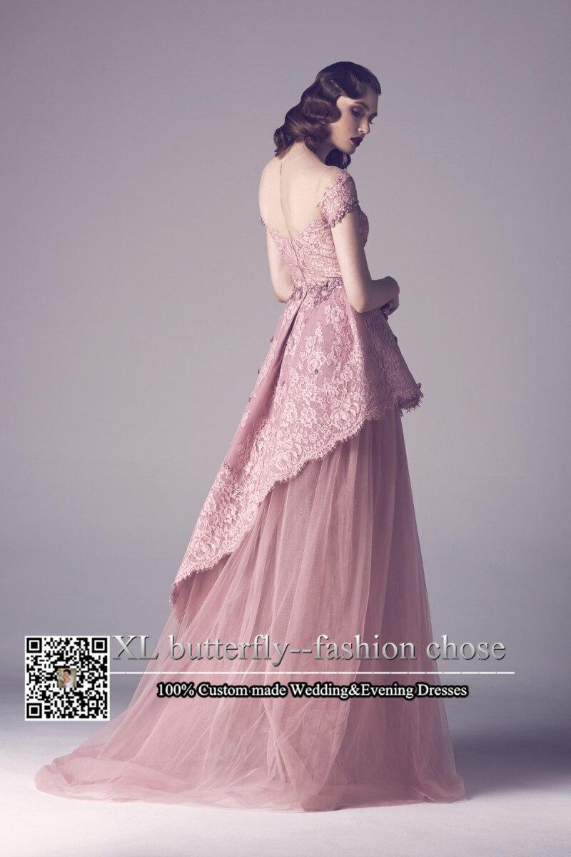 Elegant Arabic Style Sheer Scoop Neck Short Sleeves Long Lace