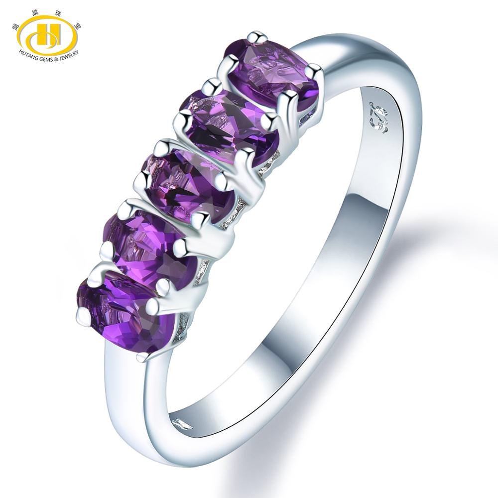 Natural African Amethyst Rings 925 Silver Natural Gemstone Engagement Ring Fine Elegant Jewelry for Women's Best Gift New