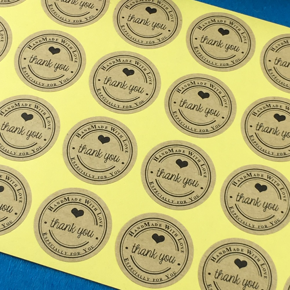 Free shipping 600pcs 3cm kraft round thank you label packaging stickers scrapbook sealing handmade paper sticker labels in party diy decorations from