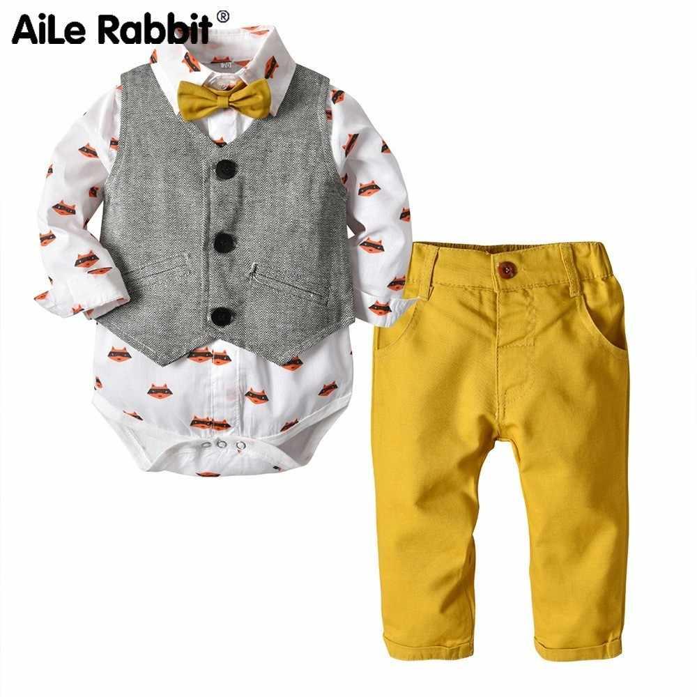 Мужской джентльменский костюм из трех предметов с принтом летучей мыши. Рубашка + жилет + брюки для отдыха