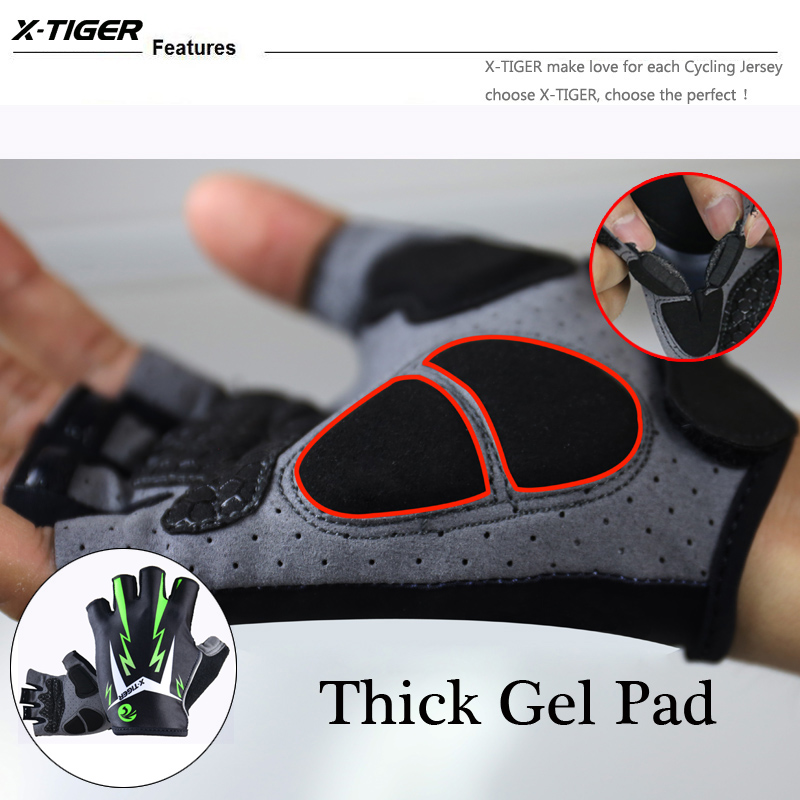 X-Tiger 3D GEL Pad Bright Green Sport Gloves With Reflective Half Finger MTB Bike Gloves Cycling Gloves Mountain Bicycle Gloves 11
