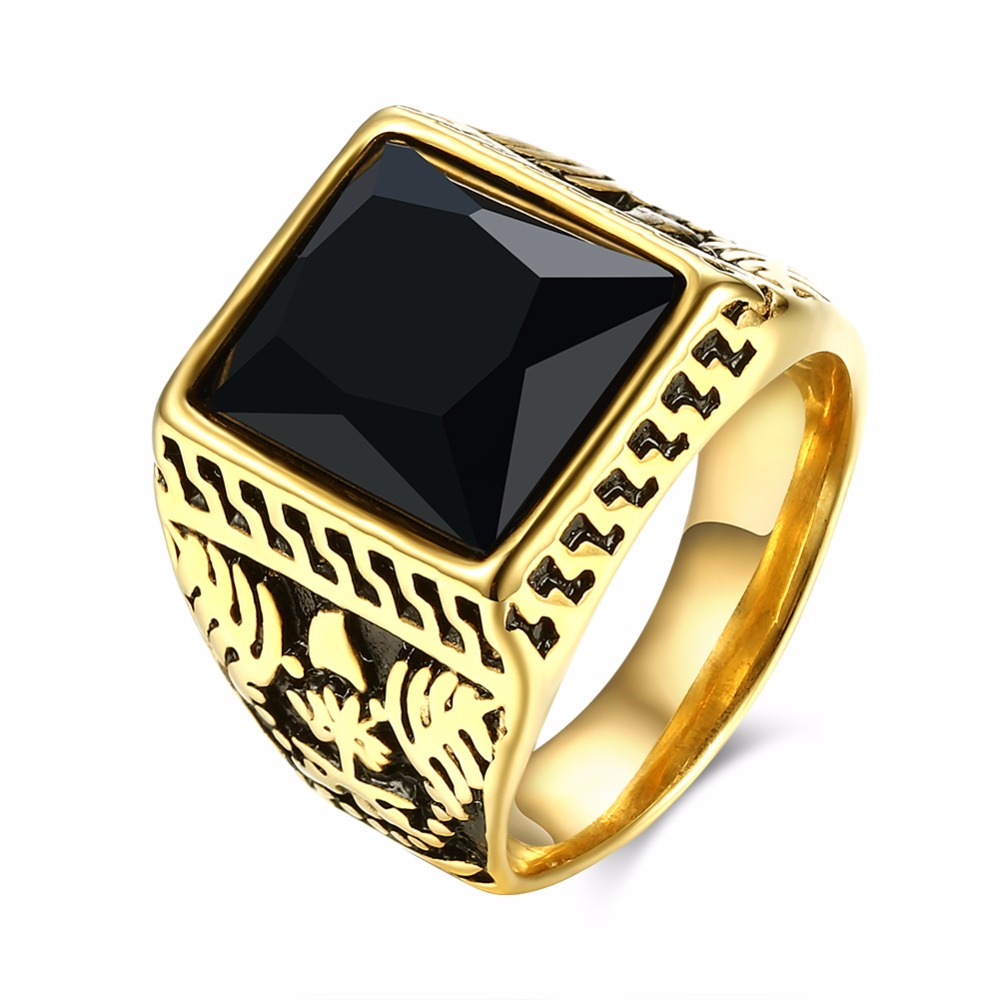 2016 Vintage Patterns Black Square Stone Ring Men Fashion