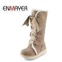 ENMAYER החדש חמה למכירה חצי אופנה מגפי הברך עבה פרווה חם נעלי חורף Vintage תחרה עד פלטפורמת חיצוני מגפי שלג לנשים