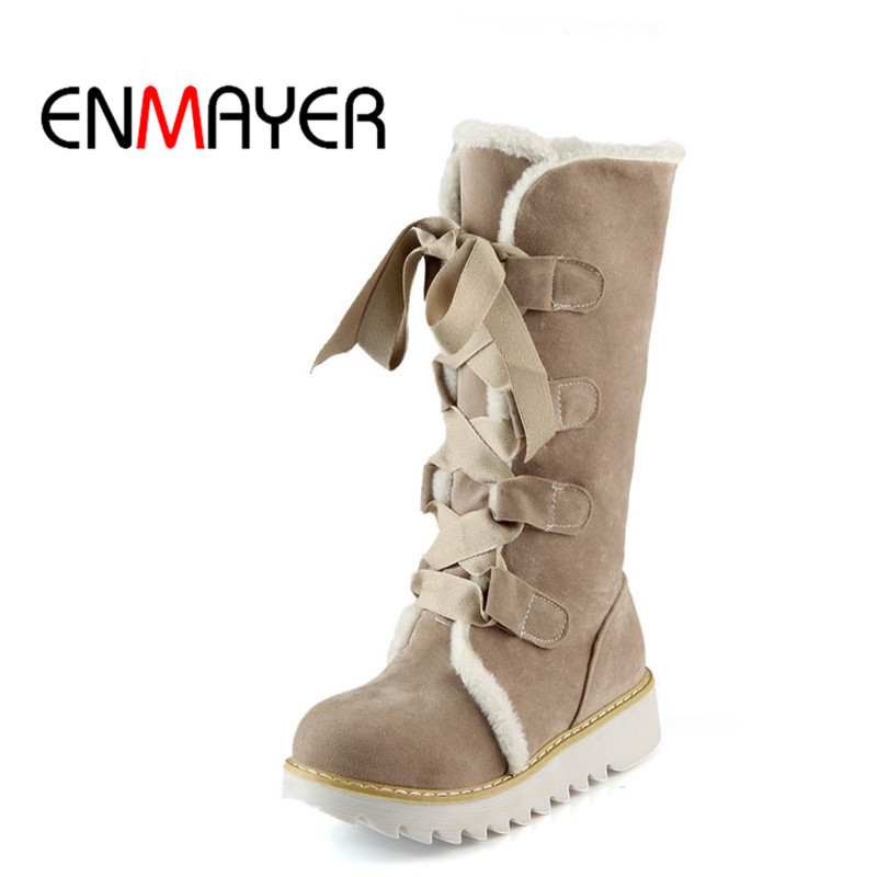 ENMAYER New Hot sale Half Knee Boots Fashion Thick Fur Warm Winter Shoes Vintage Lace Up ...