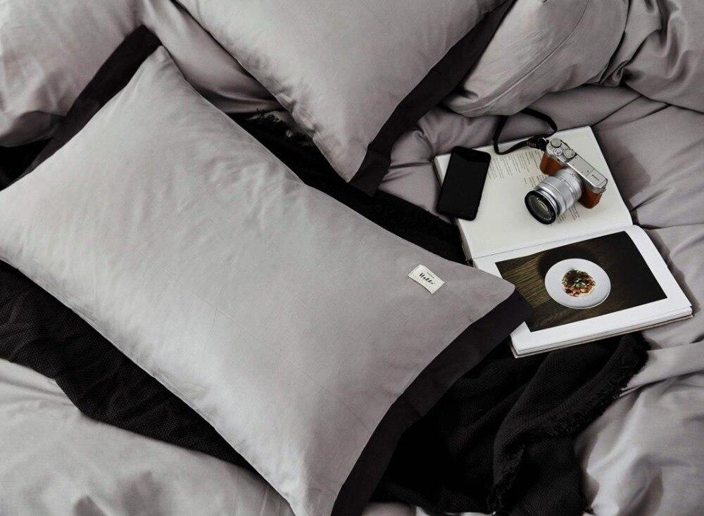Ensemble de literie Style nordique ensemble de lit luxe coton Twin Queen King Size couleur chaude housse de couette ensemble drap de lit 3 styles - 4