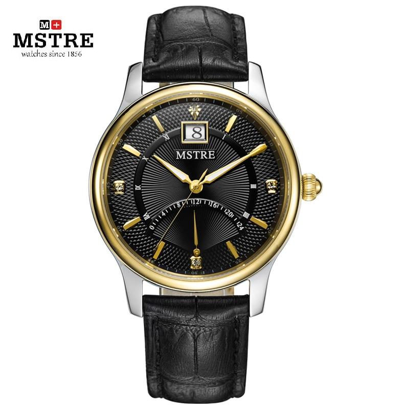 Brand MSTRE Men Classic Business Watch Japan Quartz Sapphire Male Wrist Watch 4 Pointer Watch Genuine Leather Strap Calendar gts 1004 waterproof male japan quartz watch silicone strap