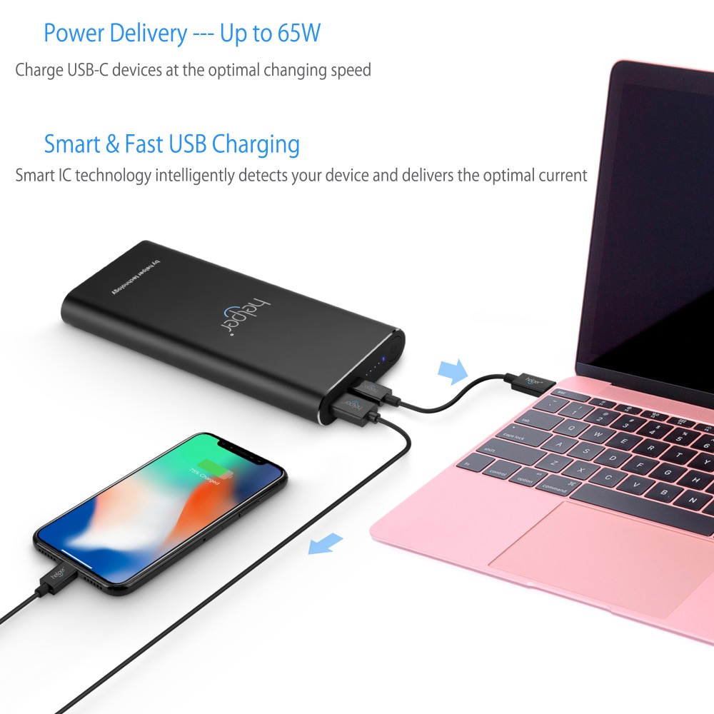 Powerbank 20V 2.25A 3.25A 45W 65W PD+QC with USB Type-C Input / Output and QC Output for X