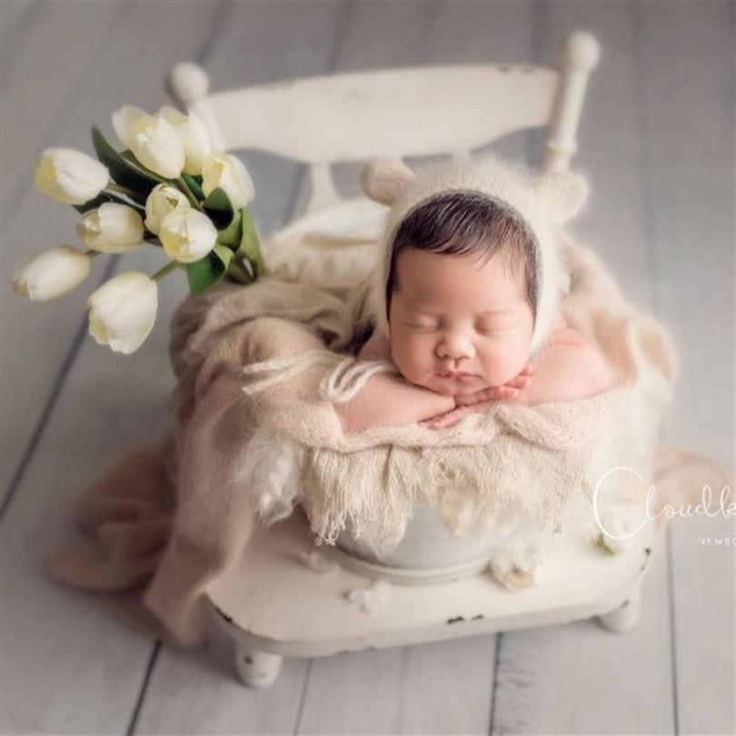 Vintage Newborn Photography Hat Fluffy Bear Hat Angora Wrap Photo Props Newborn Swaddle Knit Wrap Alpaca Bonnet Baby Wool Fabric