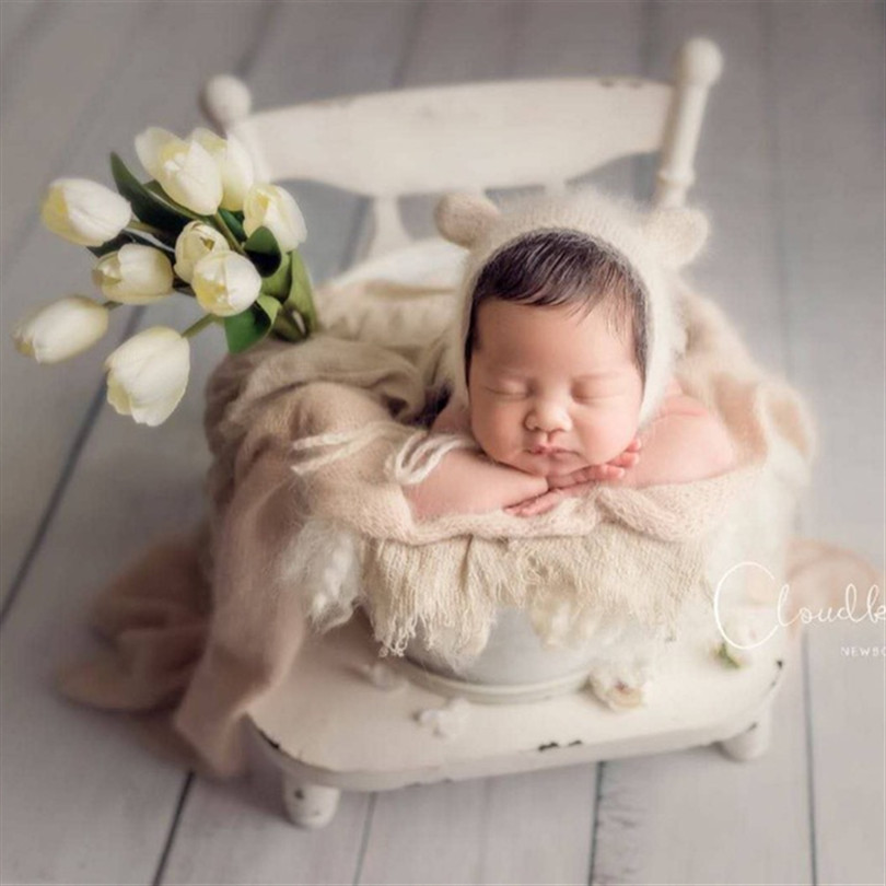 Vintage Newborn Photography Hat Fluffy Bear Hat Angora Wrap Props Newborn Knit Bonnet Toy Set Baby Knit Teddy Toy Photo prop image