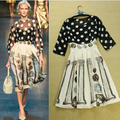 2015 весной новый европейский американских брендов дамы, Суд ветер восстановление древних путей 2 шт. установить женщины dot сплайсинга юбка печать 3019