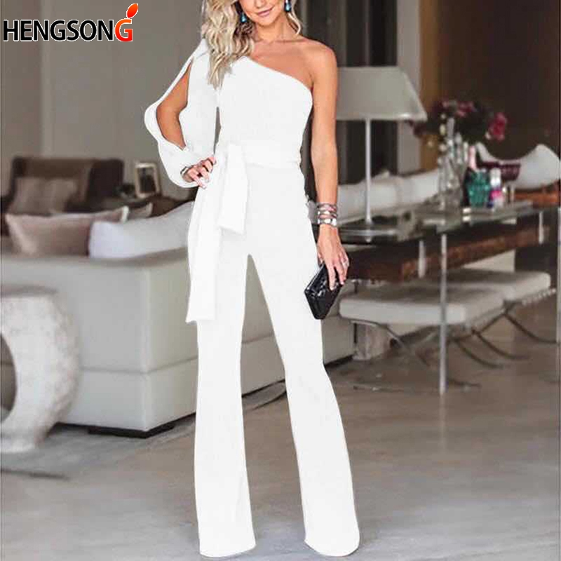 5aef6ef6ac Women Fashion Office Lady Solid Jumpsuit Stylish One Shoulder Slit Sleeve  Black Jumpsuit Sexy Slim Jumpsuits Ladies Rompers-in Jumpsuits from Women s  ...