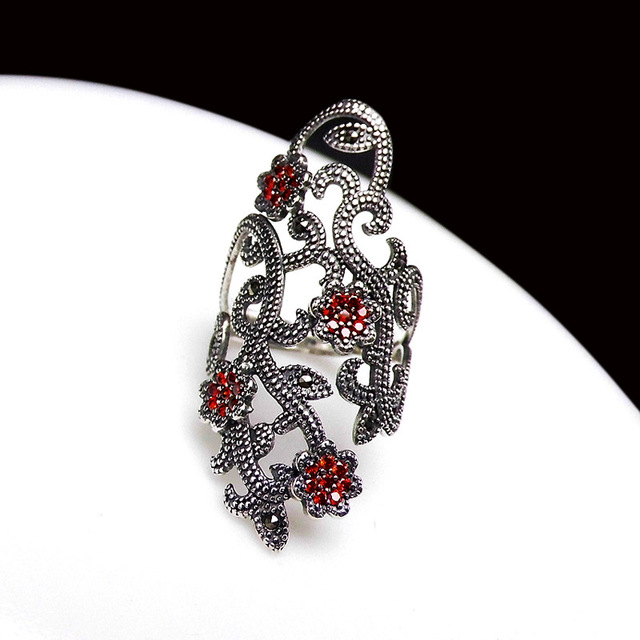 FNJ 925 Silver Flower Ring New Fashion Zircon MARCASITE Original S925 Sterling Silver Rings for Women Jewelry Adjustable Size