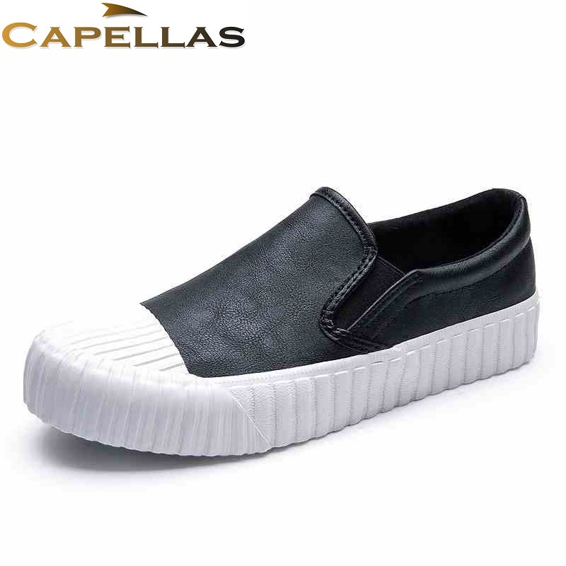 CAPELLAS New Arrival Men Leather Shoes High Quality Spring Autumn Shoes for Men Casual Shoes Size 39-44 Zapatos Hombre 2017 new spring imported leather men s shoes white eather shoes breathable sneaker fashion men casual shoes