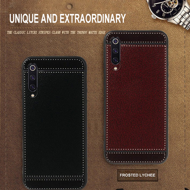 For Xiaomi Mi 9 9SE 8 8SE Pocophone F1 Case Leather Texture Soft TPU Ultra-thin Back Cover For Redmi 6A 6 Pro 5 Plus Note 7 5 6