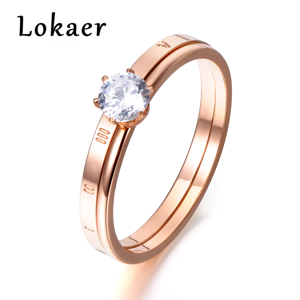 Lokaer Fashion Rose Gold Color Roman Numerals Rings Titanium Steel Prong Setting Cubic Zirconia Wedding Ring Jewelry R171380300R