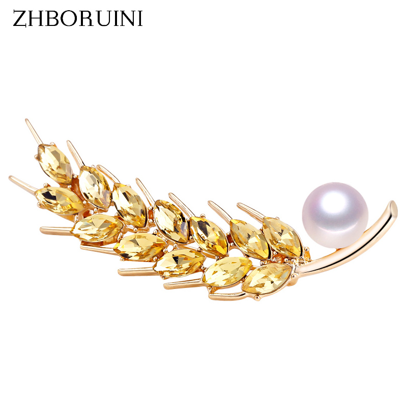 ZHBORUINI 2019 New High Quality Real Natural Freshwater Pearl Brooch Wheat Spike Brooch Pin Pearl Jewelry For Women Dropshippin in Hair Jewelry Brooches Body Jewelry from Jewelry Accessories