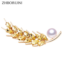 ZHBORUINI 2019 New High Quality Real Natural Freshwater Pearl Brooch Wheat Spike Pin Jewelry For Women Dropshippin