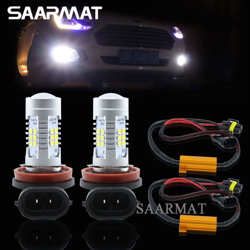 2x H8 H9 H11 White 6000K LED Fog Light DRL Daytime Running Lamp + Canbus Decoders For Mercedes W211 W212 W164 W221 CLS W219 C219