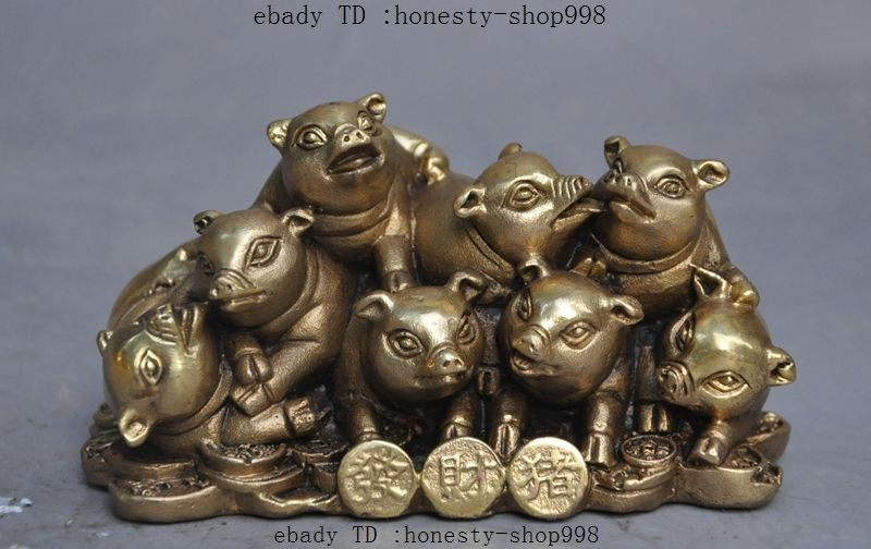 Chinese feng shui brass wealth money Animal Zodiac Pig Auspicious Lucky statue Chinese feng shui brass wealth money Animal Zodiac Pig Auspicious Lucky statue