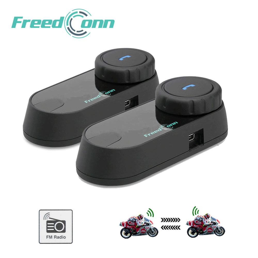 2pcs FreedConn Motorcycle Intercom Bluetooth Helmet T-COM OS FM 2 Riders BT Interphone Moto Stereo HandFree Headsets Mic
