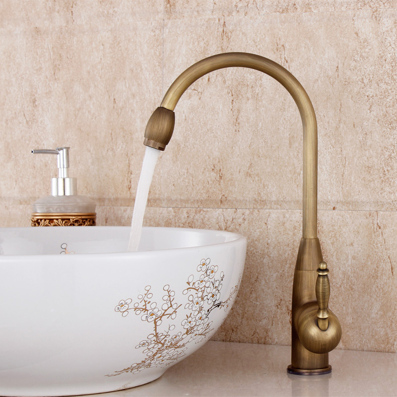 lanos bathroom faucet copper single hole basin wash antique faucet vintage rotating hot and cold