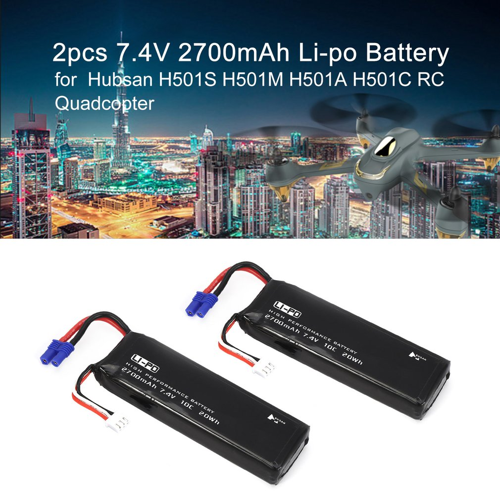 2pcs/lot Original Hubsan H501S RC Battery 7.4V 2700mAh 10C Li po Battery for Hubsan H501S H501C Quadcopter Drone Battery Parts