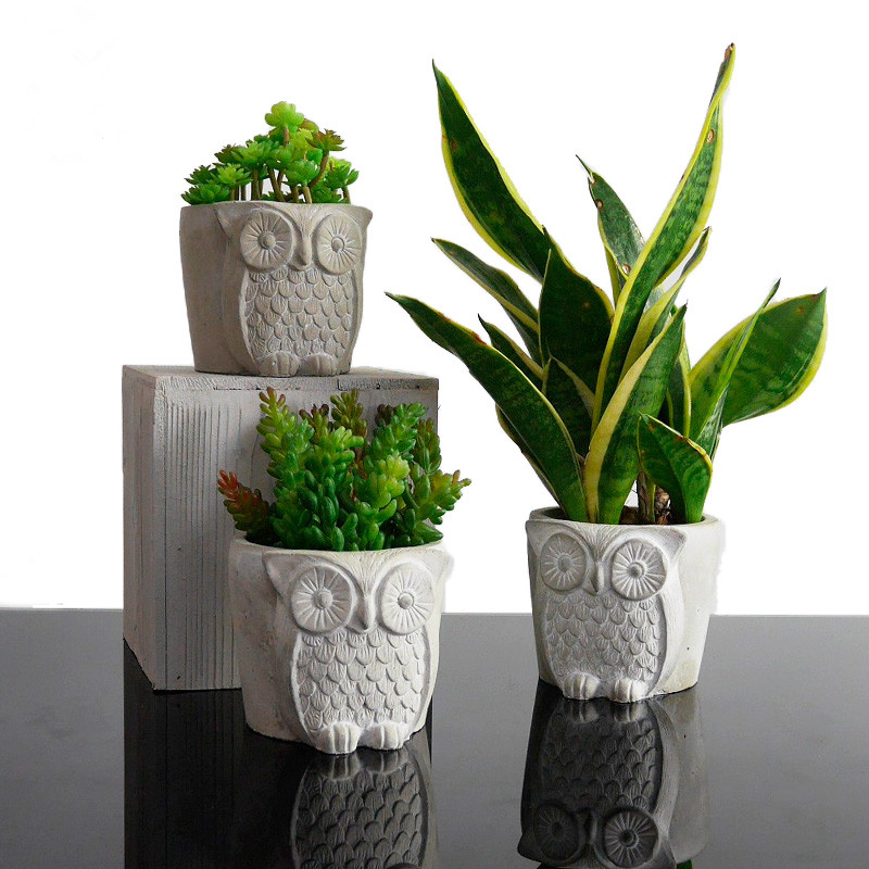 Silicone Concrete Mold Owls Shape Flowerpot Cement Mould Handmade Decorating Tools