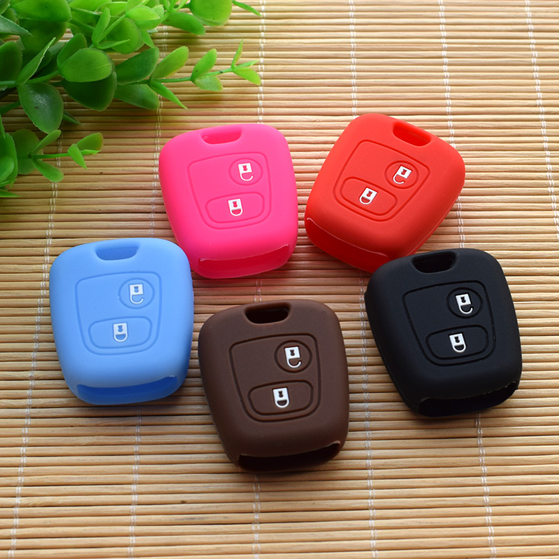Car Styling For Peugeot Citroen 206 307 207 408 Citroen C2 C3 C4 Silicone Protection Key Cover Car Keychain Shell Stickers