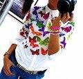 Новый Бабочка Отпечатано Женщины Рубашки Шифон С Длинным Рукавом Старинные отложным Воротником Дамы Офис Блузки Топы Мода Blusas
