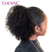 Yvonne Brazilian Virgin Kinky Curly Drawstring Ponytail Human Hair Clip In Extensions Natural Color 1 Piece