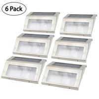 6pcs Stainless Steel Solar Bright Step Light 3 LED Stairs Pathway Deck Garden Lamps White Light