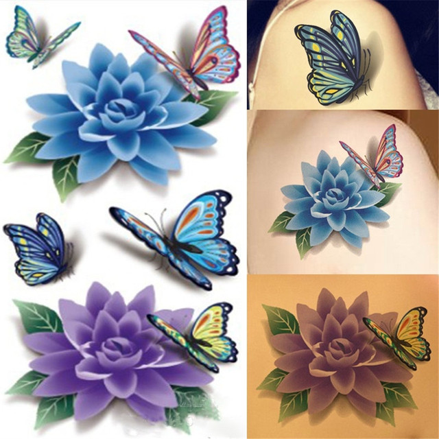 Geometry Cool Temporary Tattoo Sticker waterproof male traditional Beautiful flower arm tattoo Flowers butterfly Fake Tattoo
