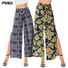 PGSD New Summer holiday casual Printed Chiffon Loose Frenulum Side forked broad-legged trousers female fashion Women clothes
