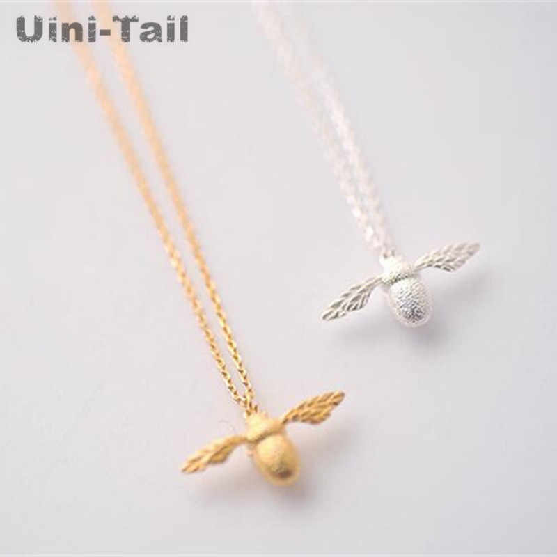 925 Sterling Silver Jewelry Personality Ruili Fashion Gold Silver Bee Necklace Fashion Dynamic Cute Couple Hot Push Gift