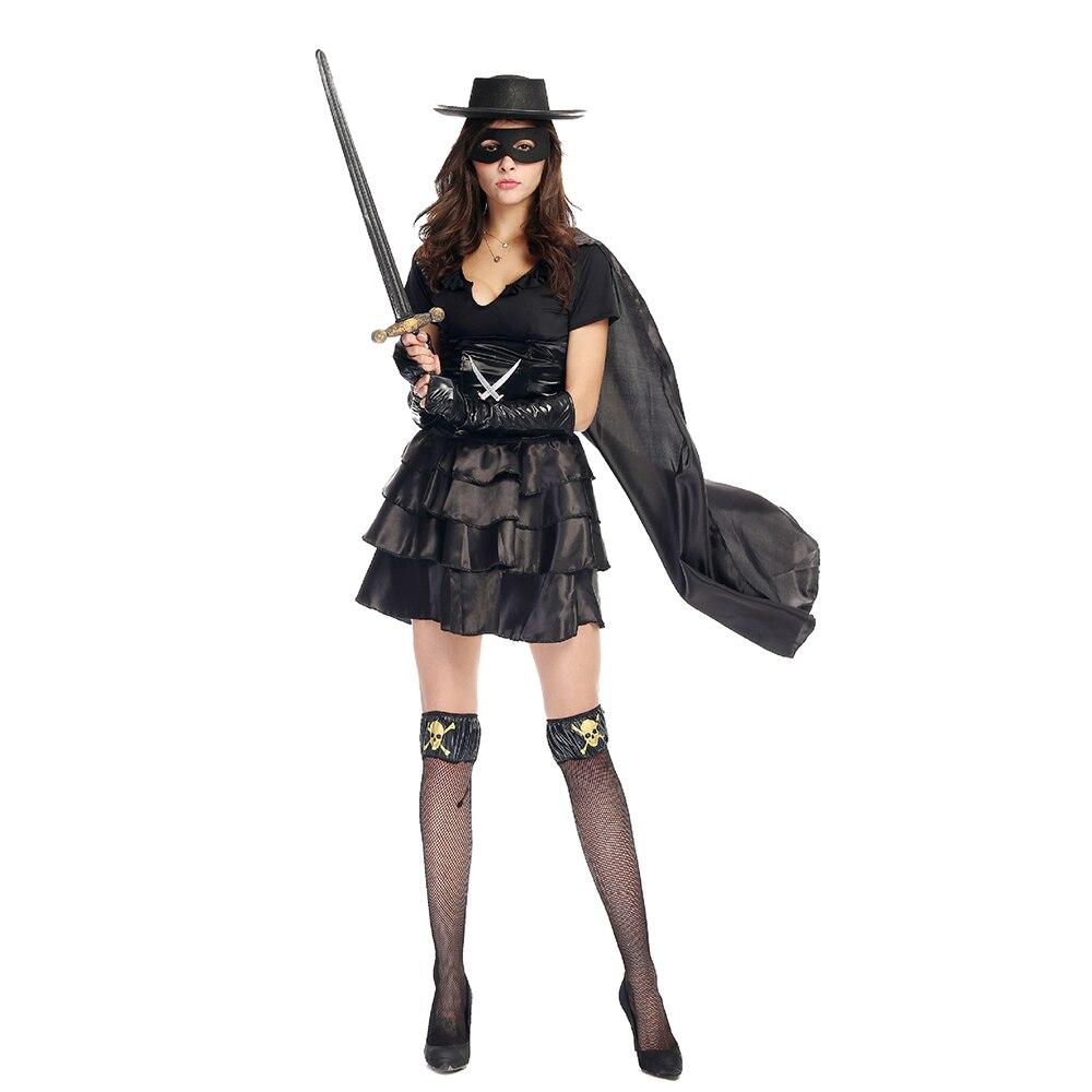 black zorro costume stockings outfit bandit beauty ladies zorro