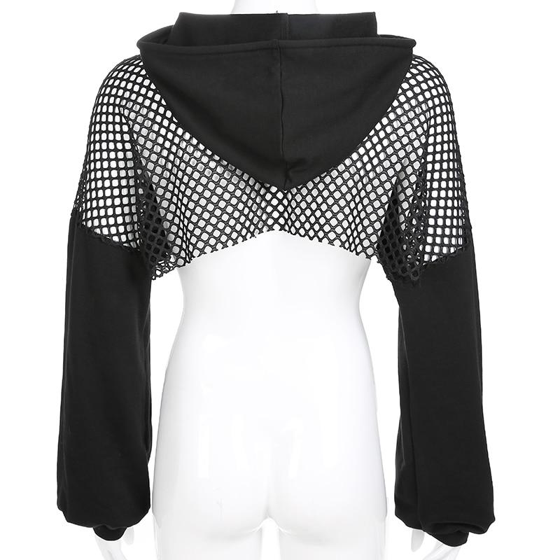Sweetown Punk Long Sleeve Crop Top Hoodies Sweatshirts Women Black Mesh Fishnet Hollow Out Hip Hop Gothic Hoodie Rave Streetwear 6